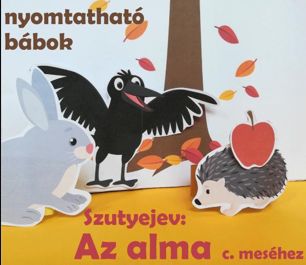 Nyomtatható bábok Szutyejev: Az alma c. meséjéhez