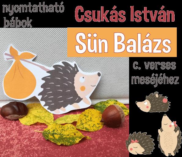 Nyomtatható bábok Csukás István: Sün Balázs c. verses meséjéhez