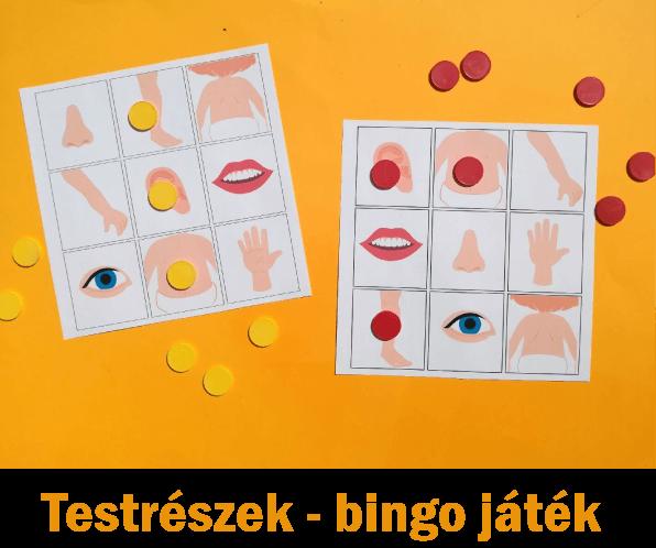 Testrészek – bingo játék