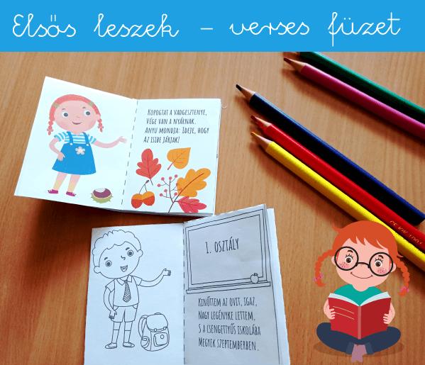 Színezhető mini verseskönyv iskolába készülő gyerekeknek